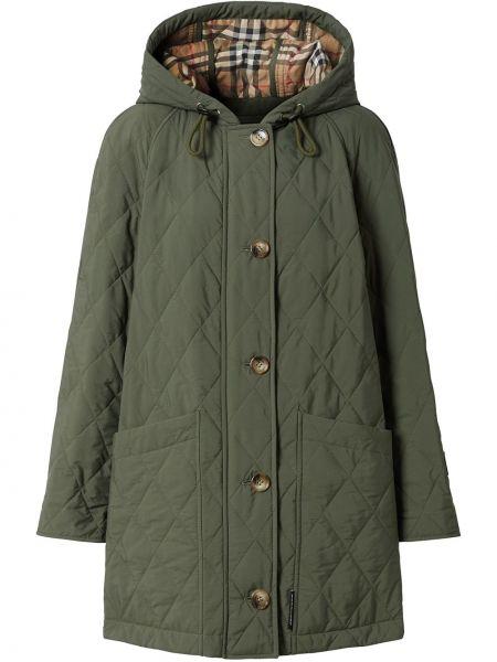 Пальто с капюшоном длинное стеганое Burberry
