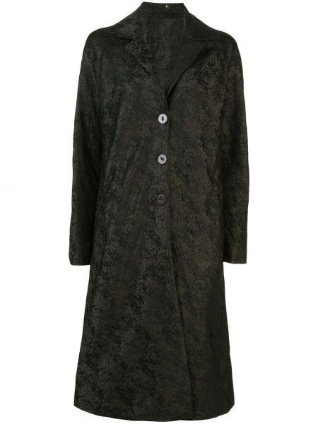 Зеленое однобортное пальто на пуговицах с карманами Peter Cohen