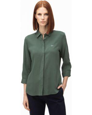 Хлопковая серая рубашка с декоративной отделкой Lacoste