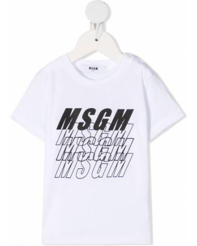 Белая хлопковая прямая футболка круглая Msgm Kids