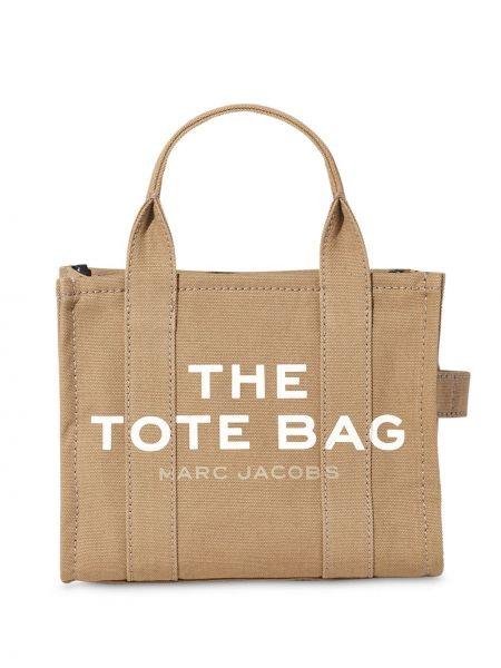 Хлопковая коричневая сумка-тоут на молнии Marc Jacobs