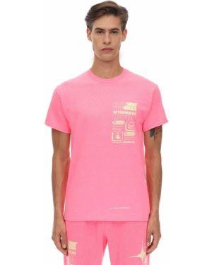 Prążkowany różowy t-shirt bawełniany Club Fantasy