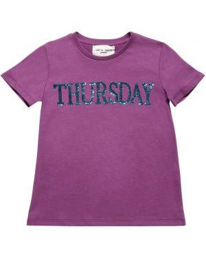 Fioletowy t-shirt bawełniany z cekinami Alberta Ferretti