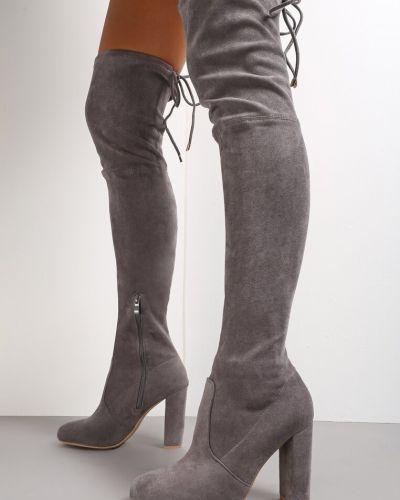 Kozaki za kolano - szare Renee