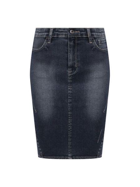 Синяя с завышенной талией юбка мини винтажная из плотной ткани Harley Davidson