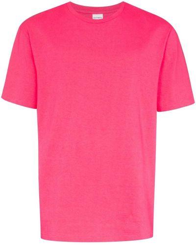 Хлопковая розовая футболка свободного кроя в рубчик Wacko Maria