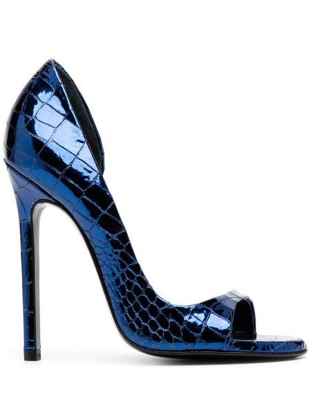 Открытые синие туфли-лодочки на каблуке Maison Ernest