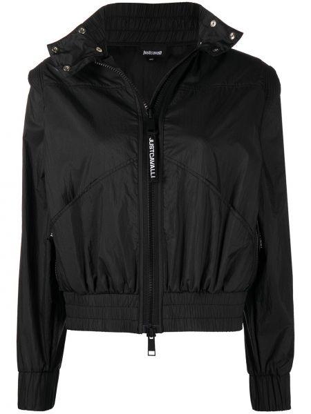 С рукавами черная короткая куртка двусторонняя Just Cavalli