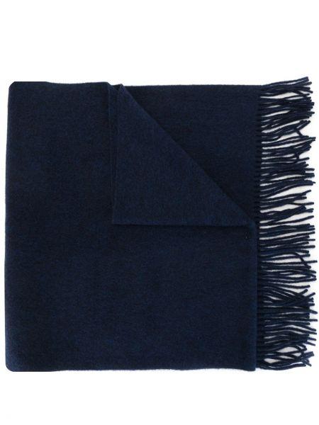Кашемировый синий шарф с бахромой Discord Yohji Yamamoto