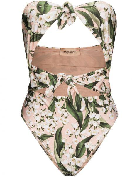 Розовый купальник бандо без бретелек в цветочный принт Adriana Degreas