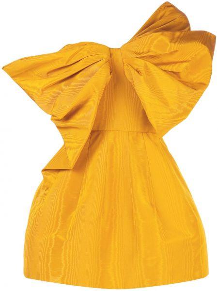Желтое асимметричное платье мини со складками с бантом Oscar De La Renta
