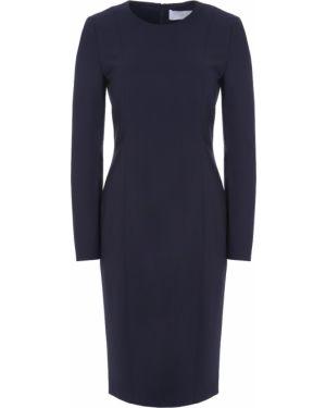 Шерстяное платье макси - синее Hugo Boss