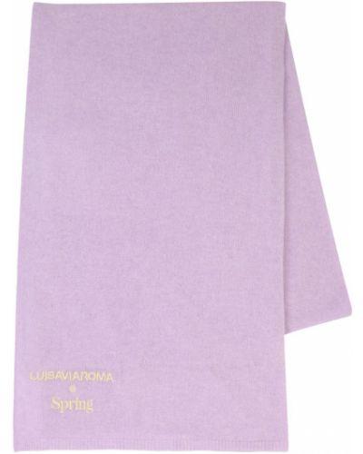 Prążkowany fioletowy z kaszmiru szalik Luisaviaroma