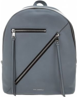 Кожаный рюкзак на молнии серый Karl Lagerfeld