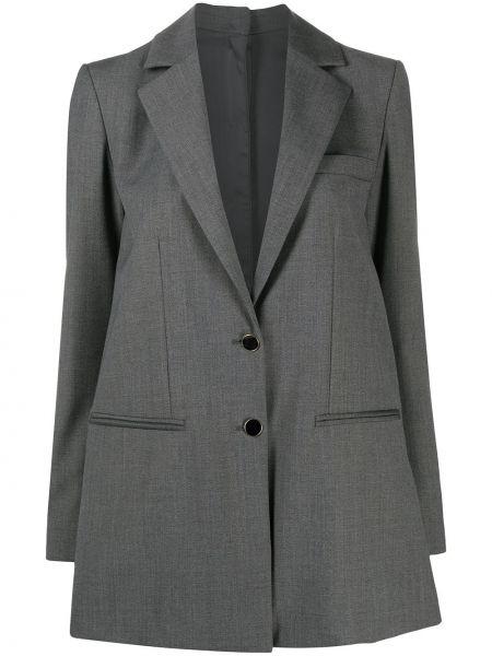 Шерстяной серый удлиненный пиджак с карманами L'autre Chose