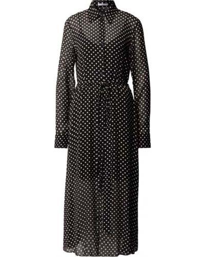 Czarna sukienka midi w grochy z wiskozy Boss