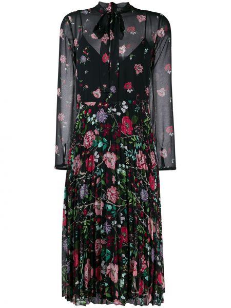 Платье миди с цветочным принтом с прозрачными рукавами Redvalentino