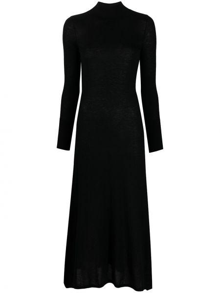 Кашемировое с рукавами черное платье макси Le Kasha