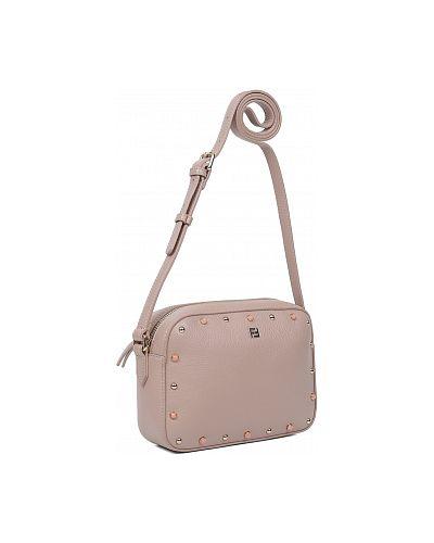 Кожаная сумка через плечо - розовая Fabretti