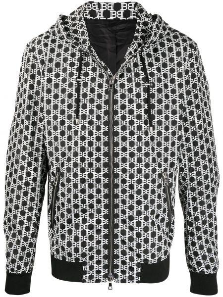 Czarny prosto kurtka z kapturem z długimi rękawami z kieszeniami Balmain