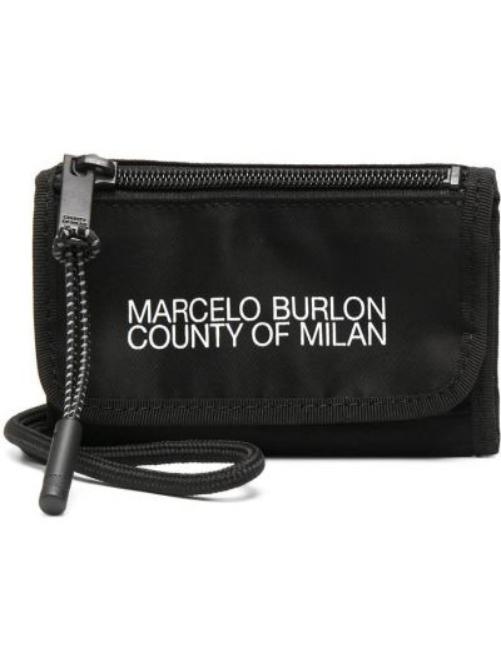 Черный с ремешком клатч на молнии Marcelo Burlon. County Of Milan
