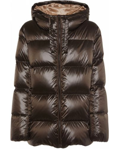Пуховая коричневая куртка с капюшоном Max Mara
