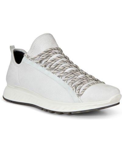 Кожаные белые кроссовки на шнурках Ecco