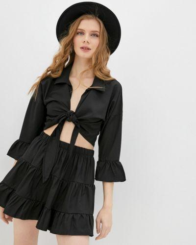 Костюмный черный юбочный костюм Pink Summer