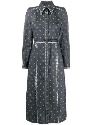 С рукавами синее шелковое платье на пуговицах Fendi