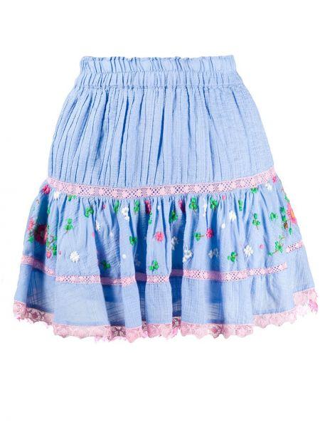 Синяя с завышенной талией юбка мини с вышивкой с поясом Loveshackfancy