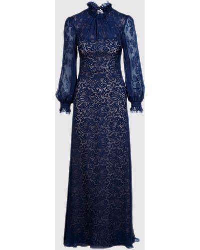 Шелковое синее ажурное платье макси Vilshenko