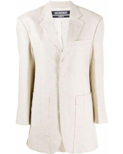 Бежевый удлиненный пиджак оверсайз с накладными карманами Jacquemus