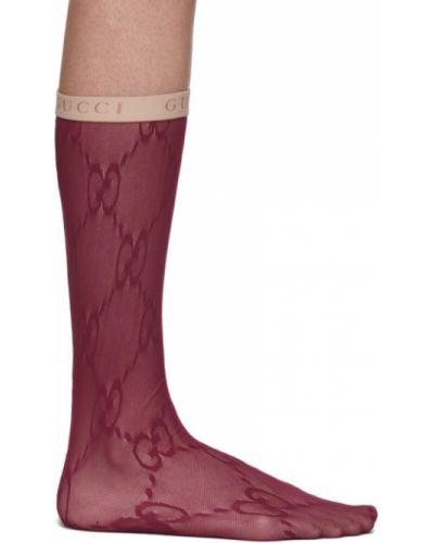 Nylon ażurowy czerwony wysoki skarpety z mankietami Gucci