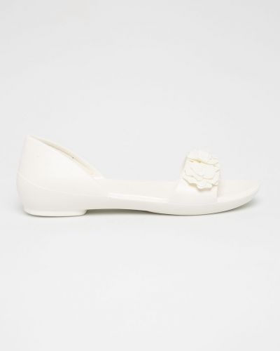 Балетки белые с цветочным принтом Crocs