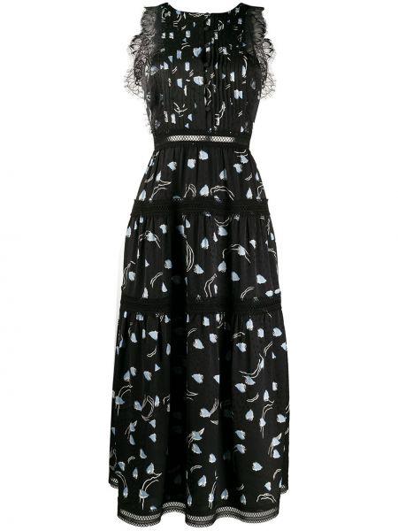 Платье миди с открытой спиной черное Self-portrait