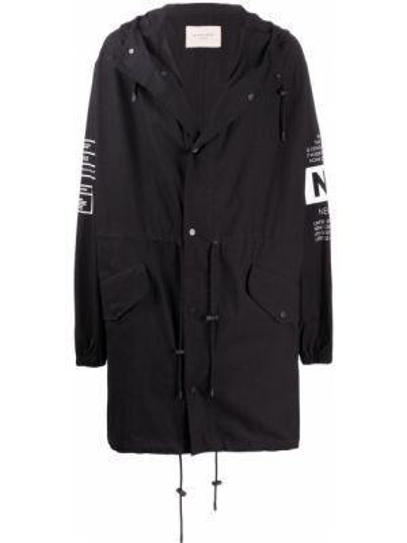 Czarny płaszcz z kapturem bawełniany Buscemi