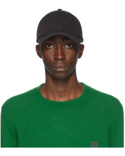 Bawełna bawełna czarny czapka z daszkiem z aplikacjami Acne Studios