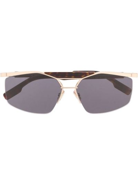 Черные солнцезащитные очки прямоугольные металлические Dior Eyewear