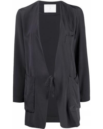 Шелковый с рукавами серый удлиненный пиджак SociÉtÉ Anonyme