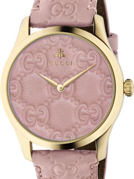С ремешком кожаные розовые часы на кожаном ремешке Gucci