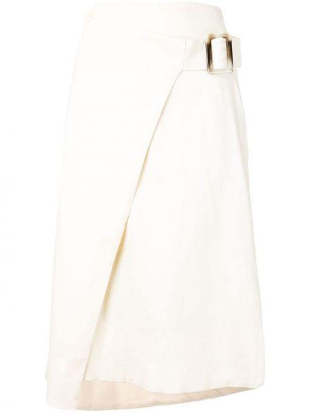 Хлопковая белая юбка миди с запахом в рубчик Rodebjer