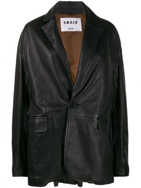 Черный кожаный классический пиджак оверсайз S.w.o.r.d 6.6.44
