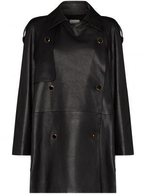 Черное шелковое пальто Khaite