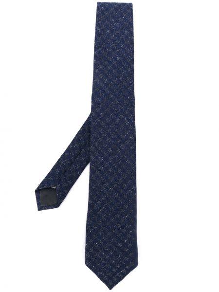 Niebieski krawat z wiskozy z ozdobnym wykończeniem Z Zegna