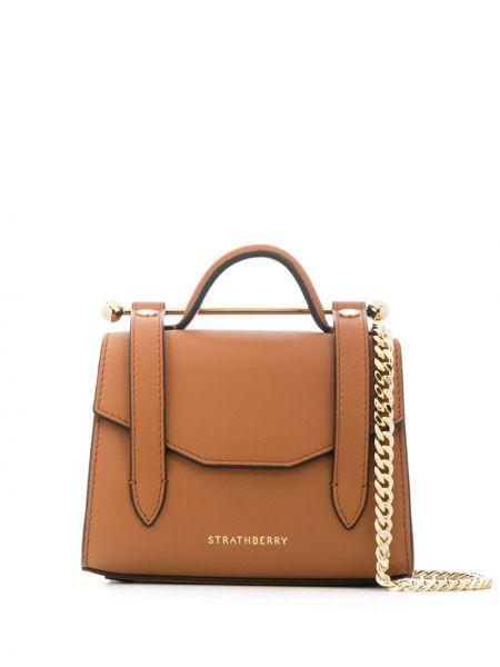 Brązowa torba na ramię skórzana Strathberry