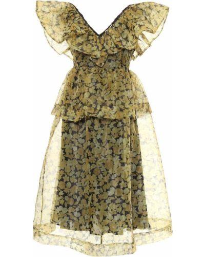 Żółta sukienka midi do pracy Ganni