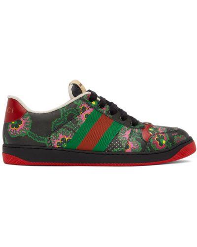 Czarne sneakersy skorzane koronkowe Gucci