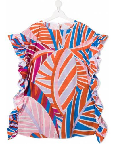 Блузка с короткими рукавами со вставками с вырезом Emilio Pucci Junior