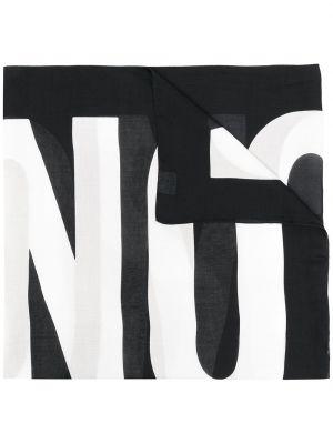 Czarny szalik z printem materiałowy Moschino