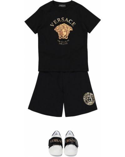 Czarne szorty bawełniane Versace Kids